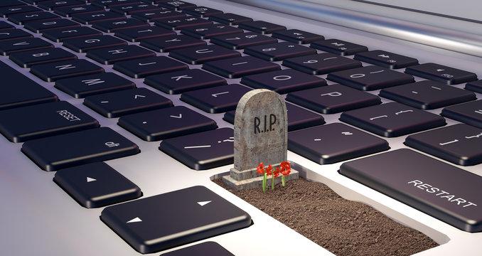 grave on laptop computer, dependence on the digital world concept, 3d render, 3d illustration
