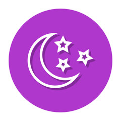 Moon And Stars In Circle Line Icon