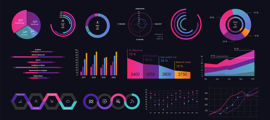 Interface screen with colored infographic digital illustration. Wall mural