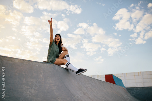 Skate Board Ramp >> Woman Sitting On Skateboard Ramp At Skate Park Stok Gorseller Ve