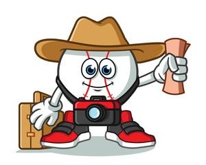 baseball traveler with camera, map, hat, and suitcase mascot vector cartoon illustration
