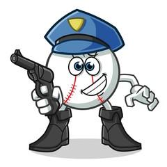 baseball police holding gun mascot vector cartoon illustration