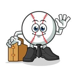 baseball worker holding suitcase mascot vector cartoon illustration