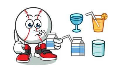 baseball drink mascot vector cartoon illustration