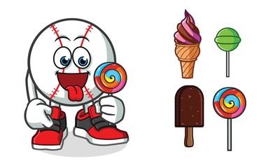baseball ice cream mascot vector cartoon illustration
