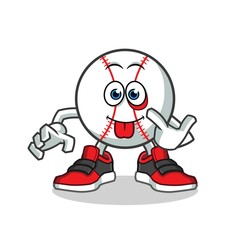 baseball mocking mascot vector cartoon illustration