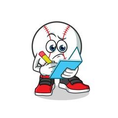 baseball writing mascot vector cartoon illustration