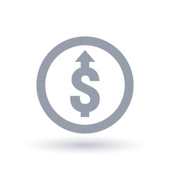 Dollar with arrow up concept icon in circle outline. Investment growth symbol. Economic success sign. Vector illustration.