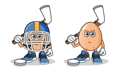 egg hockey mascot vector cartoon illustration