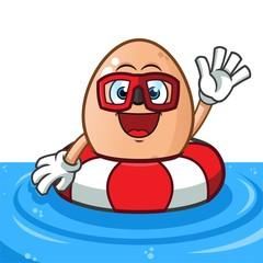egg buoy mascot vector cartoon illustration