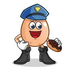 egg police eat donut mascot vector cartoon illustration