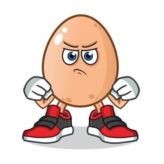 egg fight mascot vector cartoon illustration