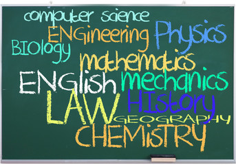 Available subjects on green chalkboard