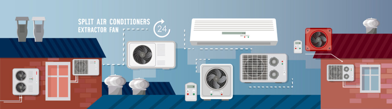 Split system check ventilation systems. Installation of air conditioners service banner. Air conditioner installment and air conditioning repair