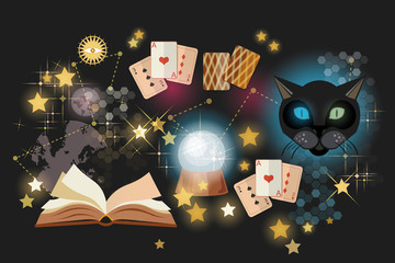 Astrology and alchemy. Prediction of the future, playing cards of Tarot, mystical cat. Fortune telling vector. Open magic book