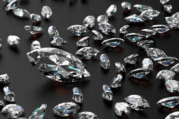 3D rendering Luxury diamonds on black background