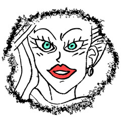 artistic woman face draw