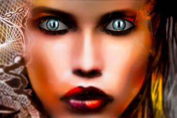 Computeranimiertes Geischt einer jungen Frau mit hypnotisierendem Blick