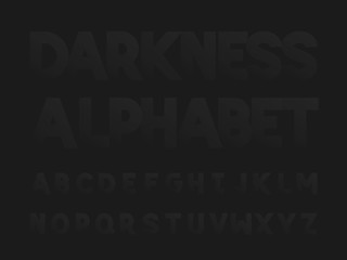Darkness bold font.  Vector alphabet