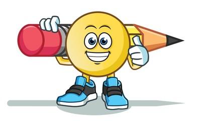 emoticon holding big pencil america vector cartoon illustration