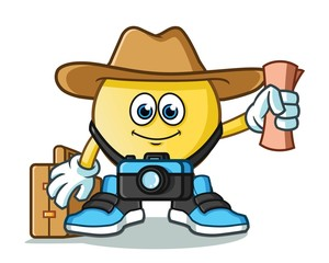 emoticon traveler with camera, map, hat, and suitcase mascot vector cartoon illustration