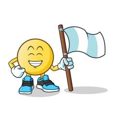baseball holding flag mascot vector cartoon illustration