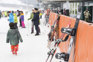Crowded of tourists enjoy the activities in Jisan Forest Ski Resort in Seoul, South Korea