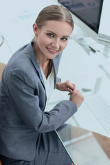 young business woman working with financial documents