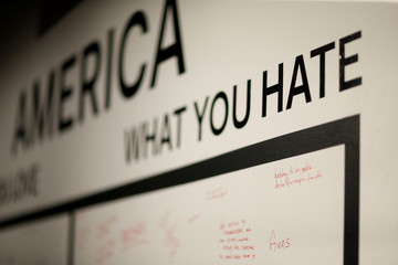 """Guests' notes are pictured on a wall at a launch party for the album """"America"""" by Thirty Seconds to Mars at a pop-up museum called """"Museum of America"""" in Los Angeles"""