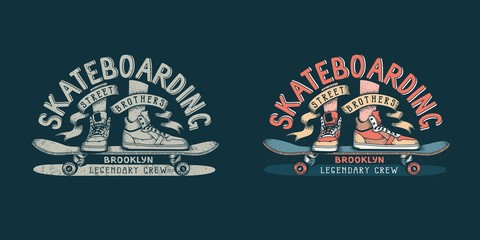 Skateboarding brooklyn retro emblem with legs in sneakers and skateboard