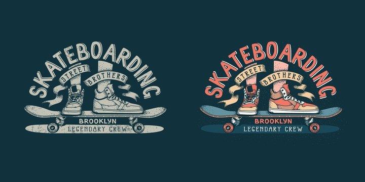 Skateboarding brooklyn retro emblem with legs in sneakers and skateboard