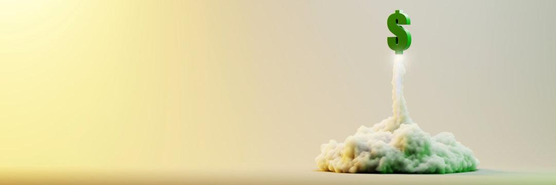 Explosion simulation with Dollar sign, original 3d rendering illustration