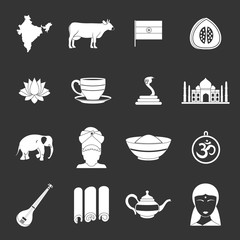 India travel icons set grey vector