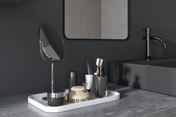 Black square bathroom sink corner