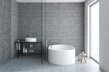Bathroom interior, gray tiles