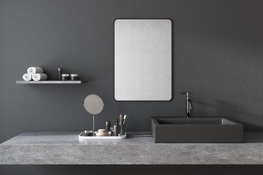 Black square bathroom sink