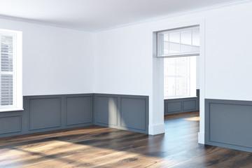 White and gray empty room corner, windows