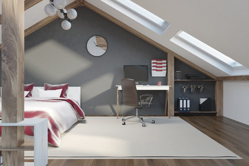 Stylish gray bedroom in the attic