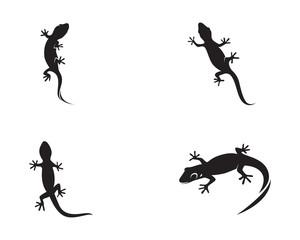 Lizard Chameleon Gecko Silhouette black vector 10
