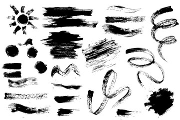 Set of hand drawn design elements. Collection of black paint, ink brush strokes.Mascara and brush stroke set vector Artistic creative shapes. Vector illustration