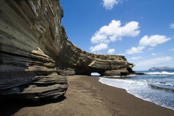 Coastal sandstone cliffs of Santiago Island, Galapagos Islands, Ecuador