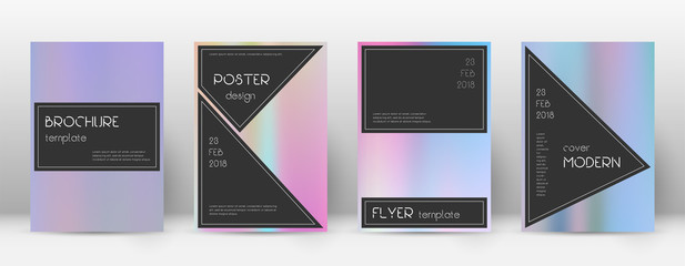 Flyer layout. Black glamorous template for Brochure, Annual Report, Magazine, Poster, Corporate Presentation, Portfolio, Flyer. Admirable pastel hologram cover page.