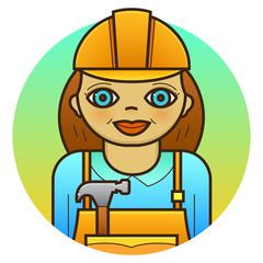 Woman builder vector illustration