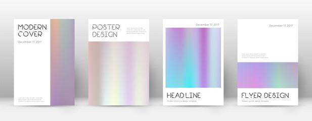 Flyer layout. Minimal amazing template for Brochure, Annual Report, Magazine, Poster, Corporate Presentation, Portfolio, Flyer. Artistic pastel hologram cover page.