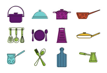 Kitchen tool icon set, color outline style