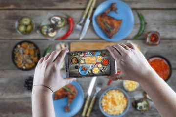 Food, taking pictures, eating out, eating in a cafe, technology, food, people, young woman, dining table, smartphone, instagram, concept