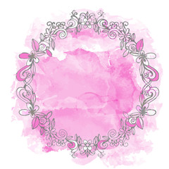 Watercolor pink pain stain and floral frame, wreath