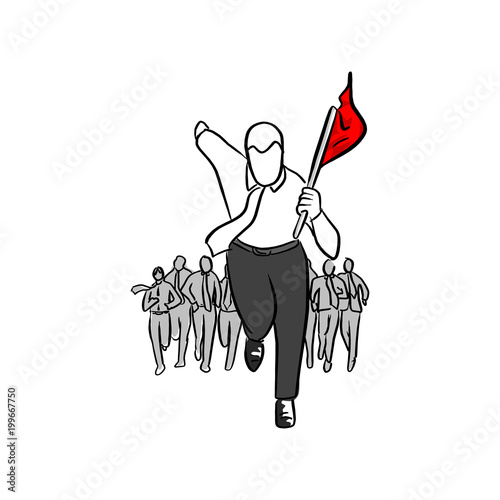 businessman running with his team holding red flag vector