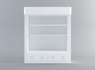 Shelf display from front view with clipping path. 3D rendering