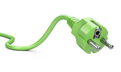 Green electric plug with wire. Eco green power concept.